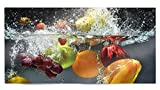 Glasvision | Küchenrückwand aus Glas | Spritzschutz | Memoboard | Herdabdeckplatte (80 x 40 cm, Fruit Splash)