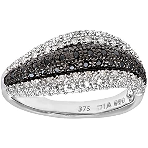 Naava oro bianco 9 kt, con Anello Eternity, onda di diamante nero