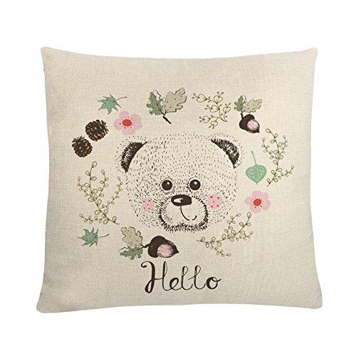 MAYUAN520 Coussins Coussin décoratif Couvre Cartoon Cute Bear Taie Motif pour canapé lit Chaise sièges Voiture Décoration Maison Pillowcovers 45 * 45cm