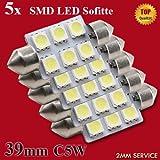 5x LED-Soffitte für 39mm Lampensockel mit 6 SMD LEDs Leuchtfarbe Weiß Xenon-Weiß - Salonbeleuchtung - Kofferraumbeleuchtung - Kennzeichenbeleuchtung - BMW - Mercedes - Ford - Opel - VW - Volkswagen - Seat - Skoda
