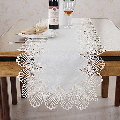 BTBD Tischläufer Spitze Hollow Sideboard Handtuch Tischdecke Tee Tischdecke Wein Schrank Handtuch TV Schrank Handtuch Kommode Handtuch europäischen Stil (Farbe : Beige, größe : 40 * 90cm)