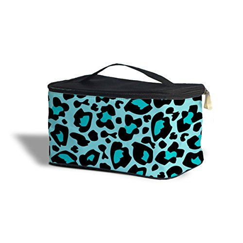 Queen of Cases Bright Leopard Print Teal - One Size Cosmetics Storage Case - Cosmetics Storage Case Kosmetik-Etui Kosmetikorganiser (Teal Leopard Print)