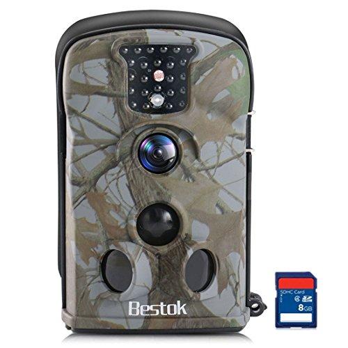 Bestok Fotocamera da Caccia 12MP HD Macchine Fotografiche da Caccia Invisibili Infrarossi Visione Notturna 65ft Impermeabile Fototrappola Selvaggia Videocamera (5210A-8GB)