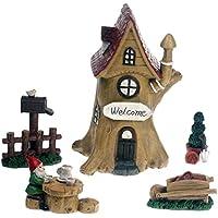 Hada de casa del árbol Cottage 5piezas Juego de hadas, elfos y gnomos