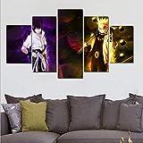 QJXX Leinwanddrucke Naruto Print Poster Leinwand Drucken In 5 Stücke Kyuubi Itachi Uchiha Sasuke Anime Dekor Gemälde Auf Leinwand Wandkunst Für Hauptdekorationen,2,B