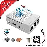 GeeekPi Gehäuse für Raspberry Pi 3 Modell B+, mit Lüfter und 3 Stück Kühlkörper für Raspberry Pi 3/2 Modell B (Nicht Raspberry Pi Board)(weiß)