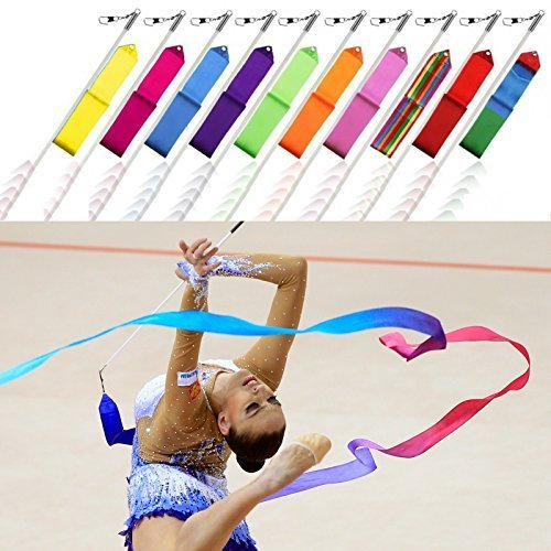 10 x Gymnastik Bänder Rhythmische Tanz Streamer Stab Baton Twirling Kunst Fitnessstudio Band von Trimming Shop (Guard-streamer Color)