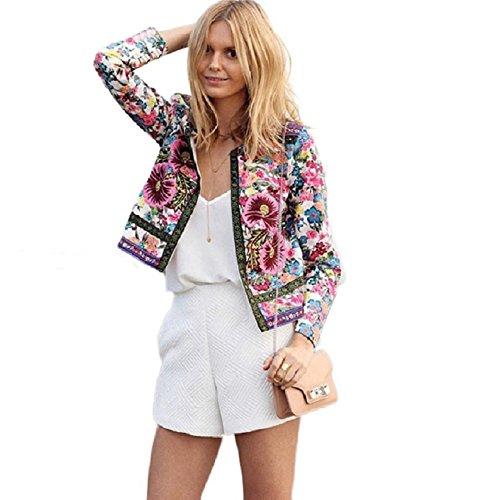 OverDose Damen Floral gedruckte kurze Jacke Langarm Outwear Mantel (S, Multicolor) (Floral Jacke Shirt)