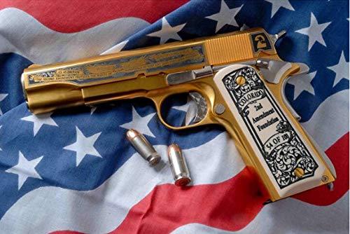 XUESHUANGLI Diamant Stickerei Malerei Kunst Amerikanischen Goldene Pistole Diamant Malerei Kreuzstich Weihnachten Cartoon Gun Military Fan Geschenk 30 * 40 cm -