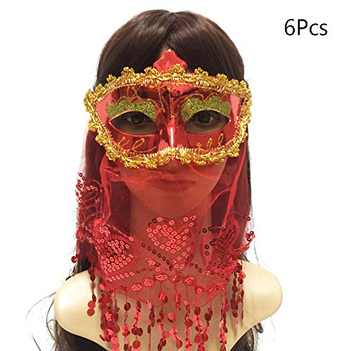 BLEVET 6PCS Sexy Geheimnis Halloween Venedig Maske Make-up Tanz Party Beauty Prinzessin Maske IE041 (6PCS Muticolor)