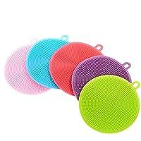 NiceButy - Esponja de silicona para lavar platos, 5 unidades de esponjas de limpieza para el hogar, antibacterias, sin moho
