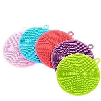 Muium /Éponge Silicone Lavable multifonction brosse en silicone Dish Washing Sponge Scrubber Kitchen Cleaning Outil de nettoyage antibact/érien tampon de r/écurage cuisine