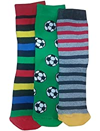 3 x Boys Thermal Motif Design Non Skid Non Slip Gripper Socks