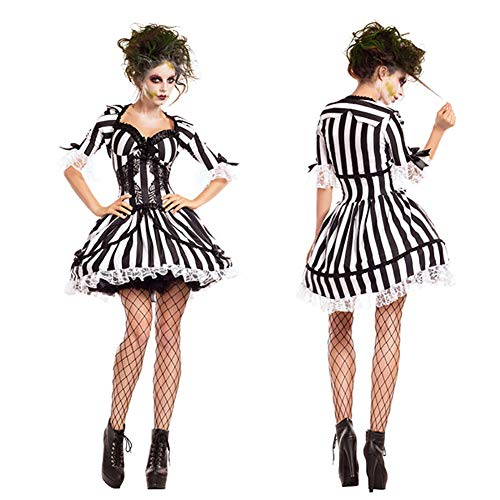 Schwarz-Weiß Gestreifte Geister Braut Kostüm Vampir Ritter Kostüm Zombie Cosplay Kostüm Halloweenkostüm Make-Up-Party Cute Lady,XL