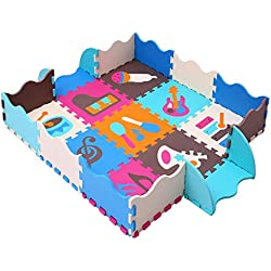 MQIAOHAM Foam Puzzle Play Mat con bordi Kids Multi-Color Safe Baby Playground Soft imbottito Protezione del pavimento di alta qualità EVA Foam Interlocking Tiles non tossico P009B3010