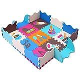 MQIAOHAM Foam Puzzle Play Mat con bordi Kids Multi-Color Safe Baby Playground Soft imbottito Protezione del pavimento di alta qualità EVA Foam Interlocking Tiles non tossico P009B3010