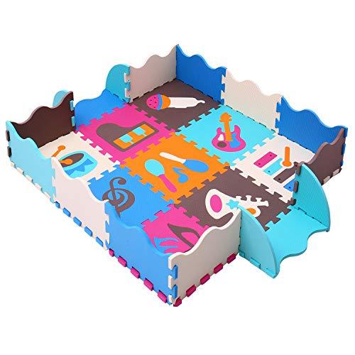 BUCHAQIAN Jigsaw Puzzle-Schaumstoffmatte, Spielmatte Schaumstoff, Schloss Puzzle Kinderteppich, Jede Matte hat eine Abmessung von 30 x 30 cm und 1 cm Dicke P009B3010