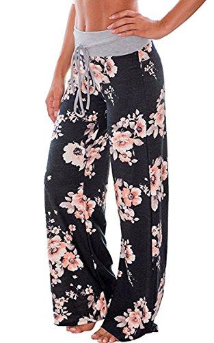 Angashion Damen Blumenmuster Weite Bein Lange Hose Abbildung 3