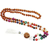 Mogul Interior Yoga Jewelry Necklace Navaratan Rudraksha Prayer Beads for Meditation, Healing Energy Beads Chakra Necklac