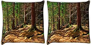 Snoogg Abstract Dense Forest Pack Of 2 Digitally Printed Cushion Cover Pillows 12 X 12 Inch