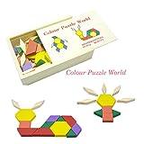 Modèle Blocs et Planches De Motifs bois tangram montessori Mosaiques Enseignement préscolaire Chemins de puzzles pour les Enfants 60 pièces