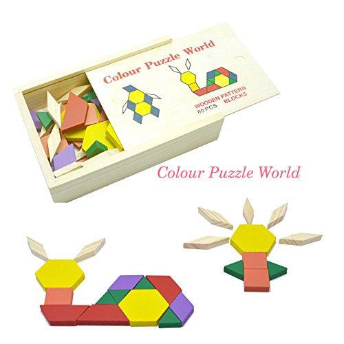 nd Brettchen mit Vorlagen Pädagogische Holzplättchen Puzzlespiel Musterblöcke Tangram für Kinder 60 Stücke ()