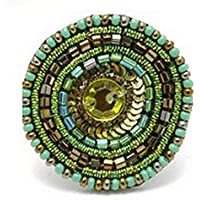 Anello Perline e Paillettes Chicca (Verde) in vetro con by Joe Cool