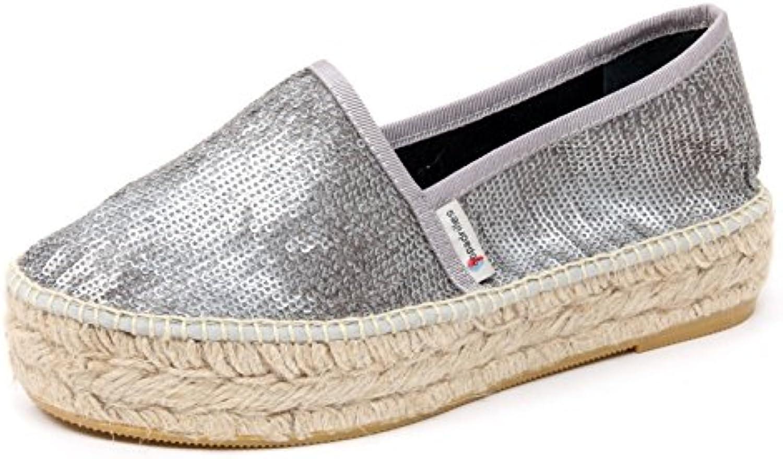 B5005 espadrillas donna ESPADRILLES scarpa argento paillettes loafer shoe woman