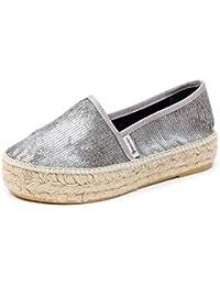 B5005 espadrillas donna ESPADRILLES scarpa argento paillettes loafer shoe  woman 2e7629c6371