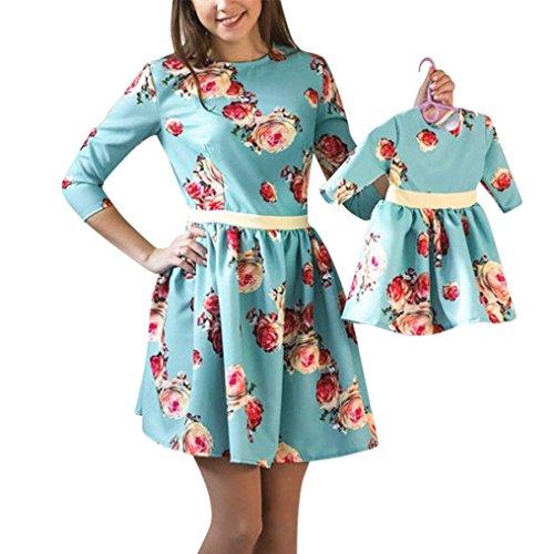 Ansenesna Mode Mutter und ich Outfits Langarm Kleid Eltern Kinder Damen Mädchen Outfits Spleißen Drucken Kleider Familien Matching Kleidung (Mädchen, 90) (Mama Tochter Kostüm)