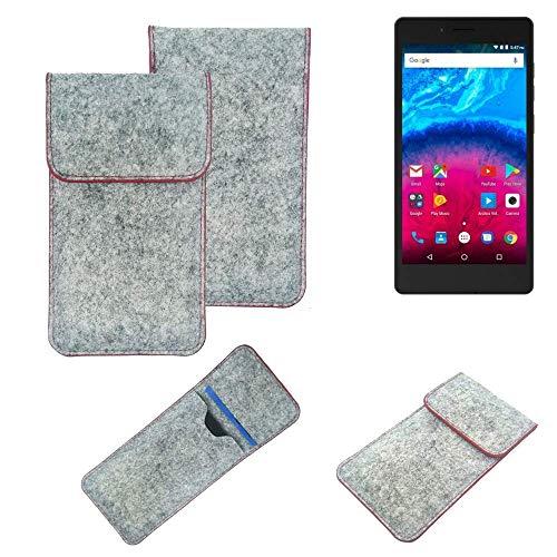 K-S-Trade® Filz Schutz Hülle Für -Archos Core 50- Schutzhülle Filztasche Pouch Tasche Case Sleeve Handyhülle Filzhülle Hellgrau Roter Rand