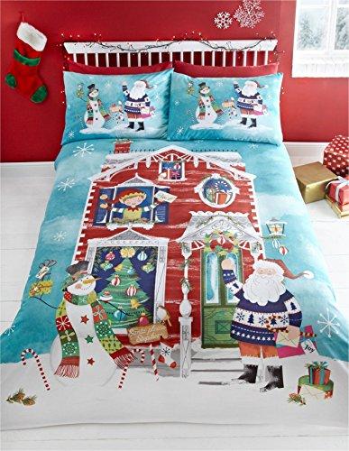 Set copripiumino - in misto cotone e poliestere - tema natalizio - Aspettando Babbo Natale - Matrimoniale UK