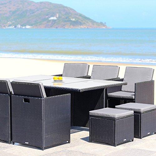 RedNeck Gartenmöbel Set 6er Sitzgruppe Dining Lounge Schwarz Polyrattan Alu