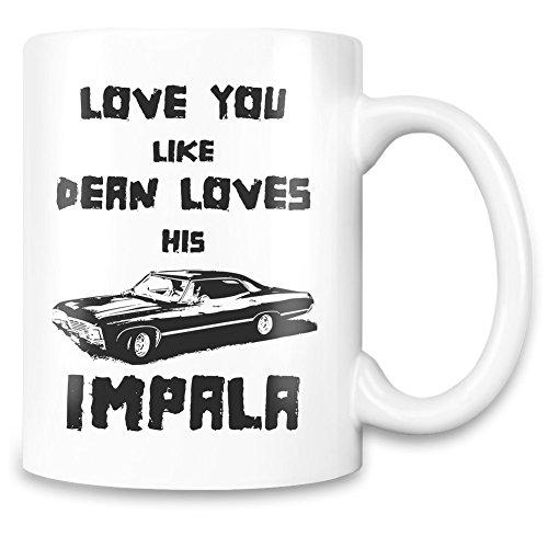 Love you like dean loves impala Mug imprimé sur-mesure - 11 Oz - Tasse en céramique de haute qualité, Mugs