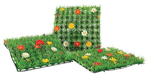 Mattonella erba artificiale con fiori, ideale vetrine e casa, 25x25 cm
