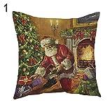 NimbleMinLki Kissenbezug, Weihnachtsbaum, Weihnachtsmann, Schneemann, für Zuhause, Sofa, Schlafzimmer, Hotel, Dekoration – 9#-Anreise? 1#