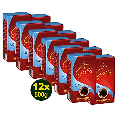 EDUSCHO GALA Mild & Sanft Röstkaffee Fein Gemahlen 12x 500g (6000g) - Kaffee mit mildem Aroma