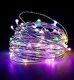 ✽ZEZKT-Home✽ 10M 100 LEDs Kupferdraht LED Kupfer Lichterkette, Wasserdicht Sternen Lichterketten Innen und Außen Fest Dekoration Warmweiß (Mehrfarbig)