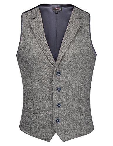 PaulJones Herren Einreiher 4-Tasten Anzug Weste Tweed Grau Größe M