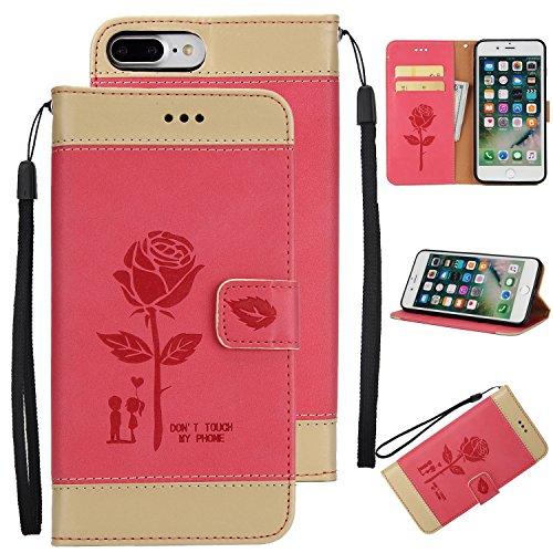 Ecoway Para iPhone 7 Plus (5,5 zoll) Funda, Amantes de Rosa(Rojo) PU Leather Cubierta , Función de Soporte Billetera con Tapa para Tarjetas Soporte para Teléfono