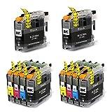 10 X Druckerpatronen mit Chip Kompatibel für Druckerpatronen Brother LC223 Brother MFC-J5320DW DCP-J4120DW MFC-J480DW MFC-J5720DW MFC-J5625DW MFC-J4620DW MFC-J4420DW MFC-J880DW MFC-J4625DW DCP-J562DW MFC-J5620DW MFC-J680DW Patronen - 2 Schwarz/Blau/Rot/Gelb 10er Set Pack(4x Schwarz, 2x Cyan, 2x Magenta, 2x Yellow)