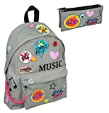 Familando Cooler Schul-Rucksack 2 TLG. Set mit Schlamper MGFF7799 von Undercover Maggie und Bianca Patches Pins Graffiti Maße 42x32x15cm
