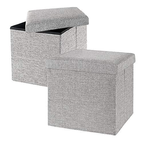 gomaihe 2 set pouf puff cubo poggiapiedi sgabello contenitore, 30 × 30 × 30cm lino ottomano puff poggiapiedi, puf contenitori puffo contenitore cassapanca pieghevole, max. 150 kg di pouff, grigio