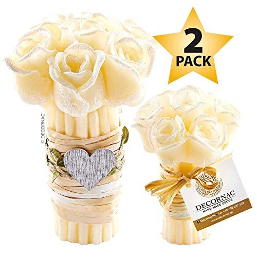 DECORNAC Konservierte Rose Kerzenset [ 2 x Duftkerze ] Handmade geschenkset für Frauen Mutter Tochter Rosenstrauß Aroma Rosen ätherische öle Dekoration wohnzimer (Vanille (Rosen)) (Mutter Und Tochter-geschenk-sets)