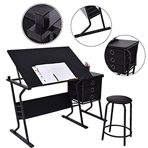 Costway Tiltable Tabletop Drawing Board Table Craft Art Drafting Folding Desk W/ Stool