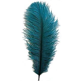 Aababuy Lot de 50, Naturl plumes d'autruche 10–30,5cm (25–30cm) plumes de mariage, vêtements, fête, décoration de table, DIY bleu sarcelle