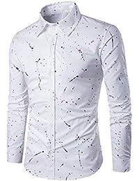 BUSIM Men's Long Sleeve Shirt Fashion Abstract Flowers Spray Paint Print Casual Slim Fashion T-Shirt Tops Comfortable...