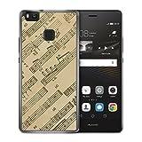 Musiknoten Seitlich Vintage - Handy Hülle für Huawei P9 Lite - Hard Case Cover Schutzhülle - Musik Noten Bedruckte Schöne Hüllen