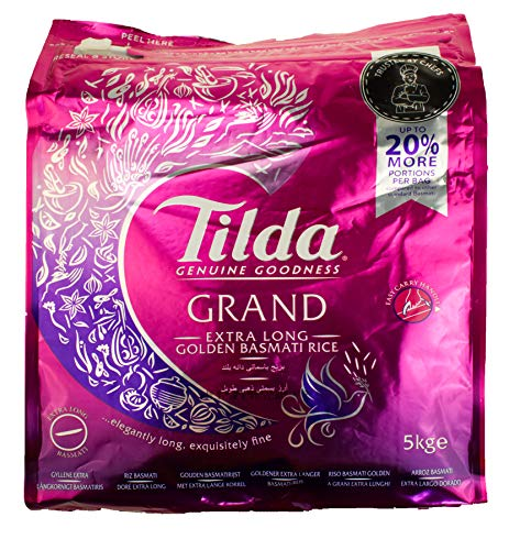 TILDA Extra Long Golden Sella Rice, Basmati Reis Extra Langkorn 5 KG