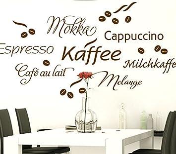 Wandtattoo Günstig G017 Kaffee Cappuccino Espresso Milchkaffee +  Kaffeebohnen Wandaufkleber Wandsticker Küche Türkis (BxH) 130 X 67 Cm:  Amazon.de: Küche U0026 ...
